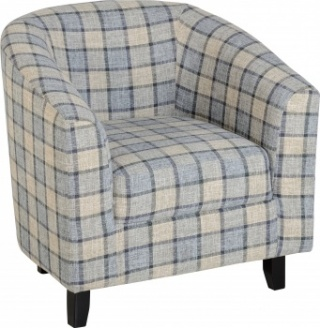 Hammond Tub Chair in Check Fabric - Grey