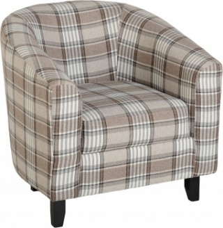 Hammond Tub Chair in Tartan Fabric - Grey/Brown