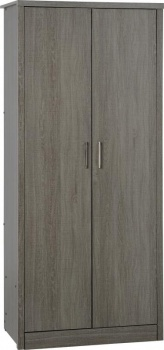 Lisbon 2 Door Wardrobe - Black Wood Grain