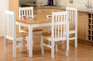 Ludlow 1+4 Dining Set - Oak Lacquer/White