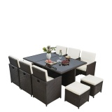 RayGar Deluxe 11 Piece 10 Seater Rattan Cube Garden Furniture Patio Set - Brown
