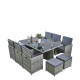 RayGar Deluxe 11 Piece 10 Seater Rattan Cube Garden Furniture Patio Set - Grey/Grey