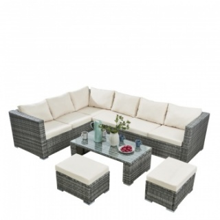 RayGar Deluxe 4 Piece Rattan Corner Garden Furniture Patio Set - Grey/Beige