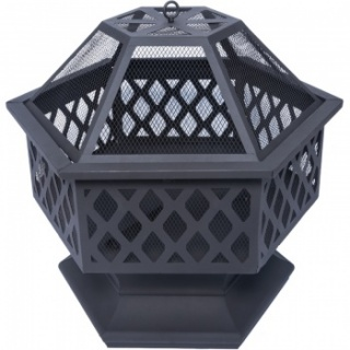 RayGar Hexagonal Fire Pit with Mesh Cover and Poker