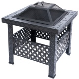 RayGar Square Fire Pit with Mesh Cover and Poker