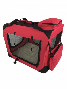 RayGar Folding Soft Crate Pet Carrier (Dog, Cat, Puppy, Kitten) - Red