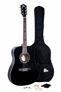 Rio 4/4 size (41'') Acoustic Dreadnought Guitar - Black