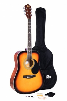 Rio 4/4 size (41'') Acoustic Dreadnought Guitar - Sunburst