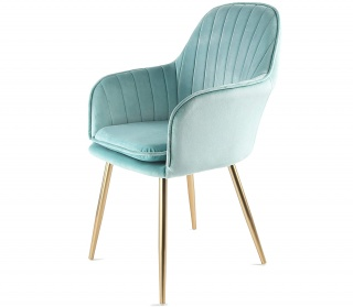 Genesis Muse Chair in Velvet Fabric - Blue Tint