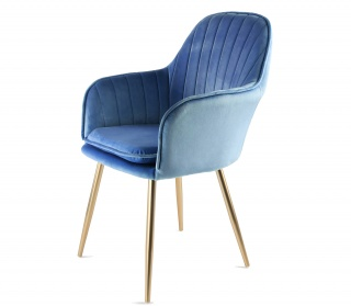 Genesis Muse Chair in Velvet Fabric - Navy