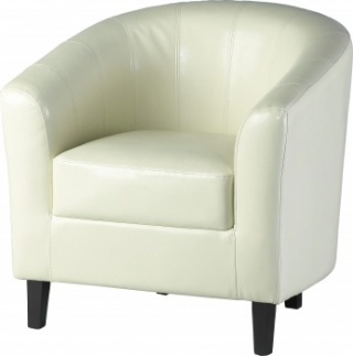 Tempo Tub Chair in Faux Leather - Cream