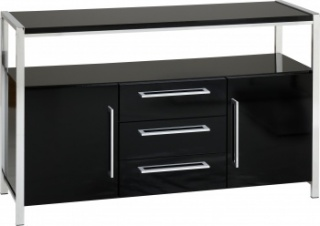 Charisma 2 Door 3 Drawer Sideboard - Black