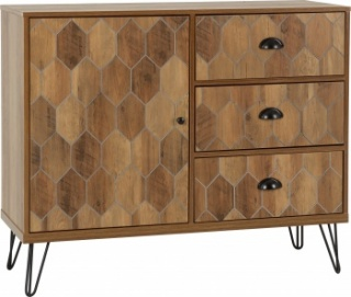 Ottawa 1 Door 3 Drawer Sideboard - Oak/Black