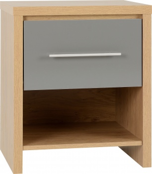 Seville 1 Drawer Bedside Cabinet - Grey/Oak