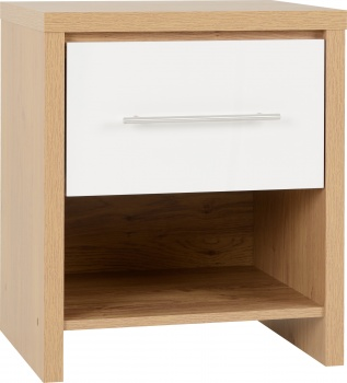 Seville 1 Drawer Bedside Cabinet - White/Oak