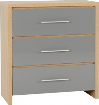 Seville 3 Drawer Chest - Grey/Oak