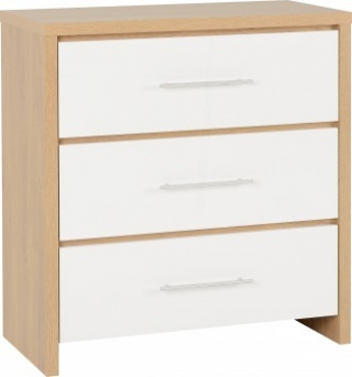 Seville 3 Drawer Chest - White/Oak