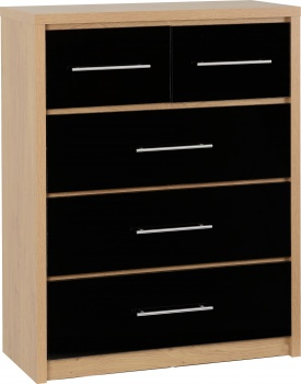 Seville 3+2 Drawer Chest - Black/Oak
