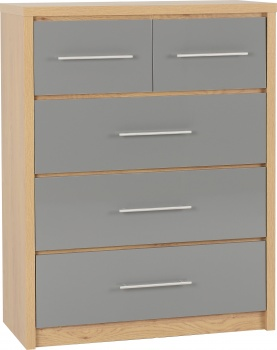 Seville 3+2 Drawer Chest - Grey/Oak