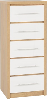 Seville 5 Drawer Narrow Chest - White/Oak