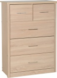 Lisbon 3+2 Drawer Chest - Light Oak Effect Veneer