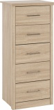 Lisbon 5 Drawer Narrow Chest - Light Oak Effect Veneer