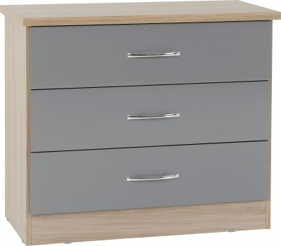 Nevada 3 Drawer Chest - Grey Gloss/Light Oak Effect Veneer