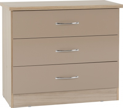 Nevada 3 Drawer Chest - Oyster Gloss/Light Oak Effect Veneer