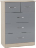 Nevada 3+2 Drawer Chest - Grey Gloss/Light Oak Effect Veneer