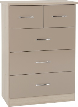 Nevada 3+2 Drawer Chest - Oyster Gloss/Light Oak Effect Veneer