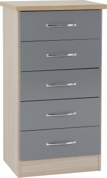 Nevada 5 Drawer Narrow Chest - Grey Gloss/Light Oak Effect Veneer