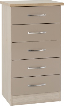 Nevada 5 Drawer Narrow Chest - Oyster Gloss/Light Oak Effect Veneer