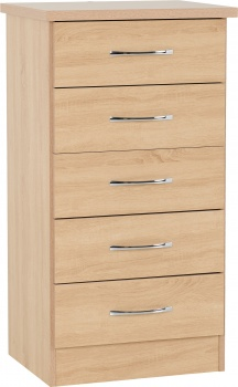 Nevada 5 Drawer Narrow Chest - Sonoma Oak Effect