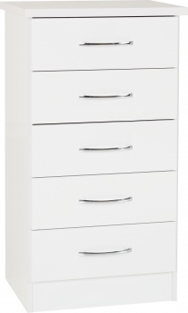 Nevada 5 Drawer Narrow Chest - White Gloss