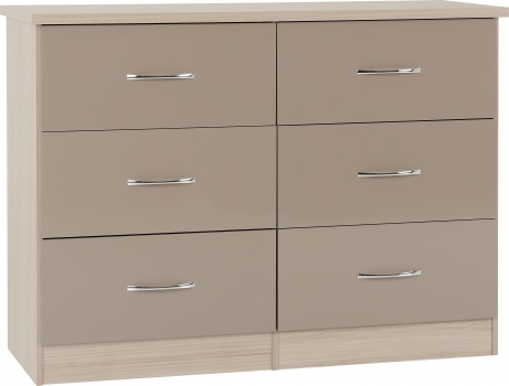 Nevada 6 Drawer Chest - Oyster Gloss/Light Oak Effect Veneer